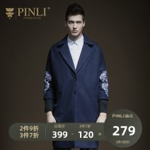 woolen coat Tibetan green M170 L175 XL180 XXL185 XXXL190 Pinli Youth fashion Polyester 53.2% wool 46.8% Fall 2017 Medium length Other leisure Self cultivation Pure e-commerce (online only) youth Lapel Single breasted tide Plants and flowers Cloth hem Side seam pocket Embroidery