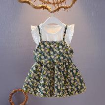 Dress Fake 2 skirt green fake 2 Skirt Pink fake 2 skirt Navy fake 2 skirt turmeric Other / other female summer lady Short sleeve Broken flowers cotton