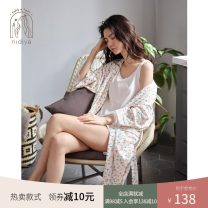 Pajamas / housewear set female Nidia M (recommended weight 85-105 kg) l (recommended weight 105-125 kg) XL (recommended weight 125-140 kg) white cotton three quarter sleeve Sweet Leisure home spring Thin money Crew neck Plants and flowers shorts double-breasted youth 3 pieces rubber string printing