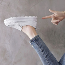 Low top shoes 34 35 36 37 38 39 40 Lemanga Blank classic white Round head Muffin bottom top layer leather Shallow mouth Middle heel (3-5cm) Two layer pigskin Summer of 2018 Trochanter Korean version Adhesive shoes Youth (18-40 years old) Solid color rubber Shoe of sponge cake Hollow muffin heel daily