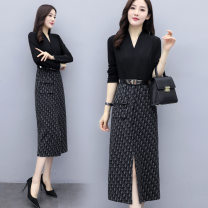 Dress Autumn 2020 Picture color M,L,XL,2XL,3XL,4XL Mid length dress Fake two pieces Long sleeves commute V-neck Loose waist lattice Socket One pace skirt routine Others 18-24 years old Printing, stitching, 3D other rabbit 's hair