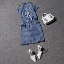 Dress Summer of 2018 blue M, L Short skirt singleton  Short sleeve Crew neck middle-waisted Solid color Socket One pace skirt
