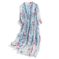 Dress Summer 2021 Light blue M,L,XL Mid length dress singleton  Nine point sleeve commute Crew neck High waist Decor Socket Big swing routine Others 30-34 years old Type A lady Fold, button, print, double layer More than 95% silk