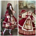 Dress Winter 2020 Single Cape, single skirt + hair band, Little Red Riding Hood single skirt, Little Red Riding Hood skirt + Cape S,M,L Mid length dress Two piece set Long sleeves puff sleeve Print, lace, stitching