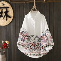 shirt White, sky blue The average size is about 105-140 Jin Spring 2021 cotton 96% and above Nine point sleeve commute Regular square neck Single row multi button bishop sleeve 18-24 years old Straight cylinder Korean version Stitching, embroidery pure cotton