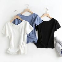 T-shirt White, black, light blue S,M,L Summer of 2019 Short sleeve Slant collar Regular routine street cotton 51% (inclusive) - 70% (inclusive) 25-29 years old Solid color Europe and America