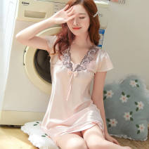 Pajamas / housewear set female Urban beauty M,L,XL,2XL other Short sleeve Simplicity Sports Home Thin money V-neck youth one-piece garment 81% (inclusive) - 95% (inclusive) silk lace
