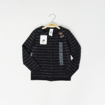 Sweater / sweater 110cm,92,98,104,116,122,128 cotton female black original single No model Single breasted Thin money Crew neck nothing Fine wool stripe Cotton 96% other 4% Three, four, five, six, seven, eight