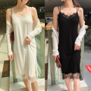 Dress Summer of 2019 White, black Average size Mid length dress singleton  Long sleeves commute Crew neck middle-waisted Socket other routine Others 25-29 years old Type A lady Lace