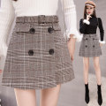 skirt Spring 2021 S,M,L,XL,2XL Coffee lattices, grey and black lattices Short skirt commute High waist skirt lattice Type A 18-24 years old 11.11N Wool Other / other Korean version