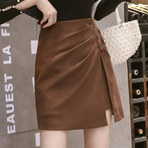skirt Spring 2021 S,M,L,XL Black, brown Short skirt commute High waist A-line skirt Solid color Type A 18-24 years old N Korean version