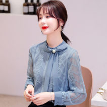 Lace / Chiffon Spring 2021 Blue, apricot S,M,L,XL,2XL Long sleeves commute Socket singleton  Straight cylinder Regular stand collar Solid color routine 18-24 years old JJ Korean version