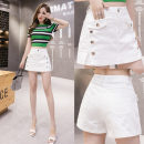 skirt Spring 2021 S,M,L,XL,2XL Apricot, white, red, black Short skirt commute High waist A-line skirt Solid color Type A 18-24 years old Na Denim Pocket, button, zipper, stitching Korean version