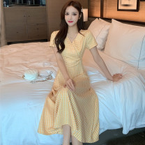 Dress Summer 2021 Pink, yellow S,M,L,XL,2XL Mid length dress singleton  Short sleeve commute V-neck High waist lattice other A-line skirt other Others 18-24 years old Type A Korean version Splicing Y 31% (inclusive) - 50% (inclusive) other other