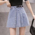 skirt Summer 2021 S,M,L,XL Short skirt commute High waist Denim skirt Solid color Type A 18-24 years old Zz 31% (inclusive) - 50% (inclusive) other Pleated, zipper Korean version