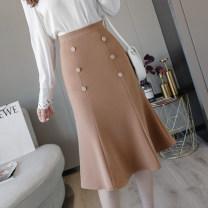 skirt Spring 2021 S,M,L,XL,2XL Khaki, black Mid length dress commute High waist skirt Solid color Type A 18-24 years old Korean version