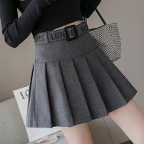 skirt Autumn 2020 S,M,L,XL Gray, black Short skirt Versatile High waist A-line skirt Solid color Type A 18-24 years old 9998Wei 30% and below