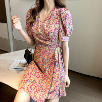 Dress Spring 2021 Purple flowers, yellow flowers S,XL,L,M Short skirt singleton  Short sleeve commute V-neck High waist Decor other A-line skirt puff sleeve 18-24 years old Type A Korean version printing XX 31% (inclusive) - 50% (inclusive) other