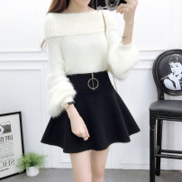 skirt Autumn 2020 S,M,L,XL Short skirt commute High waist A-line skirt Solid color Type A 18-24 years old Z 31% (inclusive) - 50% (inclusive) Wool cotton Korean version