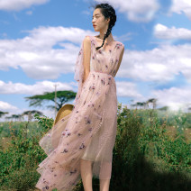 Dress Spring 2021 Pink smoke - belt free (in stock) XS,S,M,L longuette singleton  Sleeveless Sweet V-neck High waist Decor A-line skirt other camisole 18-24 years old Type A Uncle Peter Pan 90114X215 More than 95% other nylon Ruili