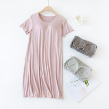 Nightdress Other / other M,L,XL,XXL Simplicity Short sleeve Leisure home longuette summer Solid color Crew neck other Modal fabric
