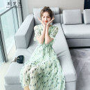 Dress Summer 2021 green S M L XL Mid length dress singleton  Short sleeve commute V-neck High waist other Socket Big swing pagoda sleeve Others 30-34 years old Type A Roland Korean version More than 95% Chiffon other Other 100% Pure e-commerce (online only)