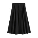 skirt Summer 2021 S,M,L,XL Black, Khaki Mid length dress commute High waist A-line skirt Solid color Type A 18-24 years old 91% (inclusive) - 95% (inclusive) Button, zipper Korean version