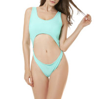 one piece  S,M,L Lake Green Triangle one piece swimsuit With chest pad without steel support Nylon, others female Sleeveless Casual swimsuit Hollowing out