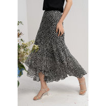 skirt Spring 2021 S,M,L,XL Black (pre sold 14 days to warehouse) Mid length dress commute Natural waist Type A 21CC0208 More than 95% Yan'er's Secret Box polyester fiber