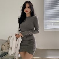 Dress Spring 2021 Gray, black Average size longuette singleton  Long sleeves commute Crew neck High waist Solid color Socket A-line skirt routine 18-24 years old Type H chuu Frenulum 51% (inclusive) - 70% (inclusive) knitting polyester fiber