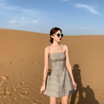 Dress Summer 2020 khaki S, M singleton  commute High waist Socket Breast wrapping 18-24 years old Type A Other / other Retro