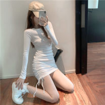 Dress Autumn 2020 White, black Average size Short skirt singleton  Long sleeves commute Crew neck High waist Solid color Socket One pace skirt 18-24 years old Korean version Pleating 51% (inclusive) - 70% (inclusive) other
