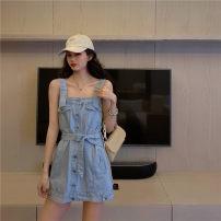 Dress Summer 2021 Light blue, dark blue Average size commute High waist 18-24 years old Korean version