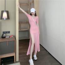 Dress Summer 2021 Black, pink Average size commute High waist 18-24 years old