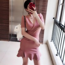 Dress Summer of 2018 Black, pink purple S, M Middle-skirt singleton  Short sleeve commute V-neck middle-waisted Solid color zipper Ruffle Skirt 18-24 years old Type A Sldoofel literature 51% (inclusive) - 70% (inclusive) other hemp