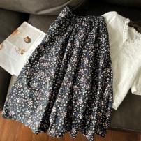 skirt Spring 2021 S, M black Mid length dress commute High waist A-line skirt Decor Type A 18-008 More than 95% cotton pocket Korean version