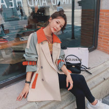 Windbreaker Autumn 2020 S,XL,L,M Short picture color, long picture color Long sleeves routine commute double-breasted other Solid color MX289-815 18-24 years old Splicing other