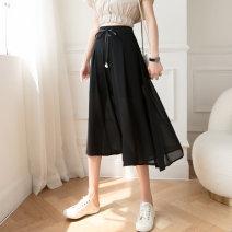 Casual pants black S,M,L,XL Summer 2021 Cropped Trousers Wide leg pants High waist Versatile Thin money 51% (inclusive) - 70% (inclusive) polyester fiber Asymmetry