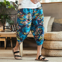 Casual pants Others Youth fashion Fan, lotus, dragonfly, crane, No.5 safflower, pure grey, pure black, pure red 5XL,4XL,3XL,2XL,XL,L,M routine Ninth pants Other leisure easy Micro bomb summer Large size Chinese style 2019 Medium low back Straight cylinder Haren pants Pocket decoration washing