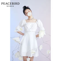 Dress Summer 2020 White (spot) white (pre-sale 1) white (pre-sale 2) white (pre-sale 3) white (pre-sale 4) S M L Short skirt singleton  elbow sleeve commute square neck Loose waist Socket other puff sleeve 25-29 years old Peacebird Simplicity AWFAA2582 More than 95% other cotton Cotton 100%