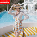 one piece  white Skirt one piece Steel strap breast pad Others, polyester, spandex, nylon female Long sleeves Casual swimsuit Solid color Hollowing out