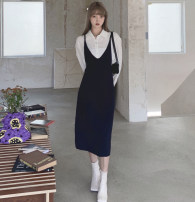 shirt Navy a143-42 × 6531 S,M,L Spring 2021 other 96% and above Sleeveless Versatile Medium length V-neck Socket other Solid color High waist type Open back, hollow out, strap polyester cotton