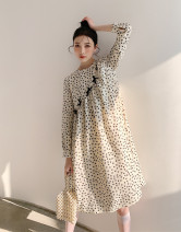 Dress Spring 2021 Almond Cream S, M Mid length dress singleton  Long sleeves Sweet Crew neck High waist Broken flowers Socket A-line skirt puff sleeve Others Type A 81% (inclusive) - 90% (inclusive) other polyester fiber