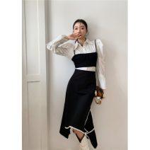 skirt Winter 2020 S,M,L black longuette commute High waist Solid color polyester fiber pocket