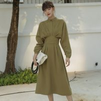 Dress Autumn of 2019 Avocado Green XS,S,M,L Miniskirt singleton  Long sleeves commute Crew neck High waist Solid color zipper Big swing routine 25-29 years old T-type Other / other Simplicity 30% and below other polyester fiber