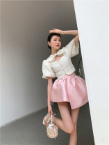 skirt Summer 2021 S,M,L Black, pink Short skirt Versatile Fluffy skirt Solid color Type A 25-29 years old 31% (inclusive) - 50% (inclusive) Silk and satin Other / other other
