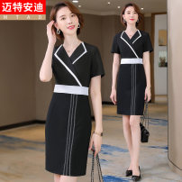 Dress Summer 2021 Black (dress) S M L XL 2XL 3XL 4XL Middle-skirt singleton  Short sleeve commute tailored collar High waist other other other routine 25-29 years old Type H Mrtteadis / Andy Mette Simplicity printing GA6139KR5060CH More than 95% other polyester fiber Pure e-commerce (online only)