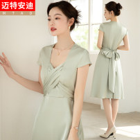Dress Summer 2021 Blue (short sleeve dress) green (short sleeve dress) S M L XL XXL Mid length dress singleton  Short sleeve commute V-neck High waist Solid color other Big swing routine 25-29 years old Type H Mrtteadis / Andy Mette Korean version GA6139KFG20233CH 91% (inclusive) - 95% (inclusive)