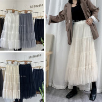 skirt Spring 2021 Average size (80-140 kg) White, black, apricot, grey longuette commute High waist Pleated skirt lattice Type A 18-24 years old E2276B 91% (inclusive) - 95% (inclusive) corduroy cotton Button, thread, fold
