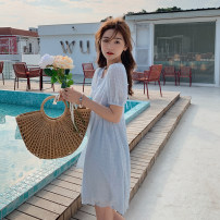 Dress Summer 2021 White, light blue M, L Mid length dress singleton  Short sleeve commute Crew neck High waist Solid color Socket A-line skirt puff sleeve Others 18-24 years old Type A Schizosin Korean version 51% (inclusive) - 70% (inclusive) other other